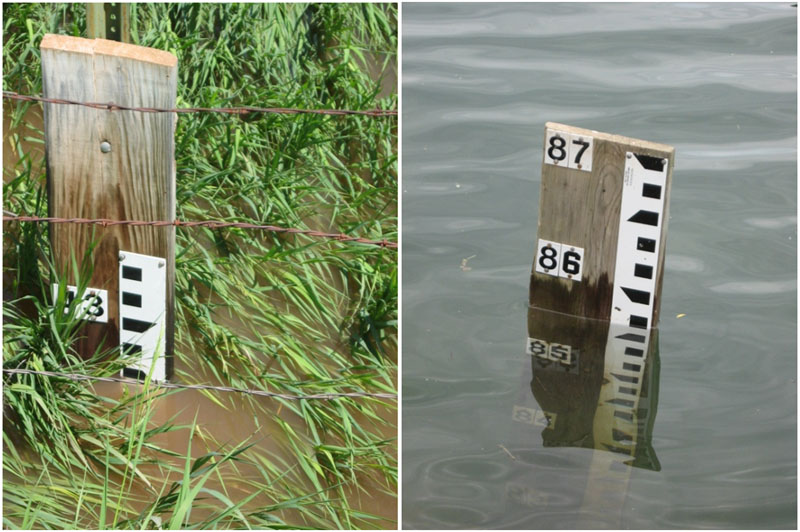 Staff gages provide quick, easy method for detecting water level changes.