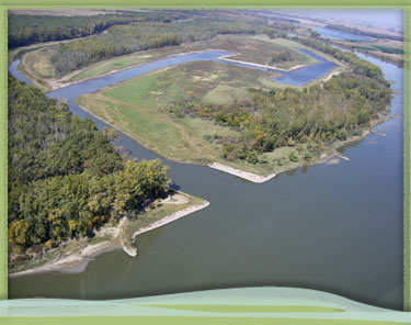 Photo of Glovers Point chute and wetlands