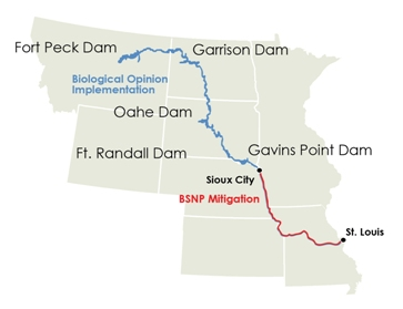 Map detailing the Missouri River areas where the Biological Opinion applies and where the BSNP Mitigation Project applies